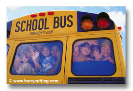 kids on back of school bus